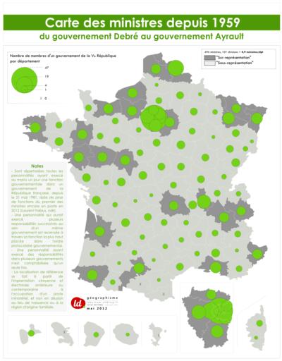 Géographismes - Origine géographique des ministres de la Cinquième République.