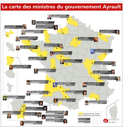 Géographismes - Origine géographique des ministres du gouvernement Ayrault 1.