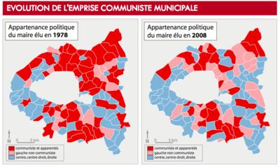 Géographismes - Mairies communistes entre 1978 et 2008 en petite couronne parisienne.