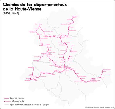 Géographismes - Carte de lancien réseau de tramway de la Haute-Vienne.