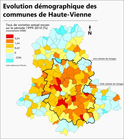 Géographismes - Evolution de la population communale en Haute-Vienne entre 1999 et 2010.