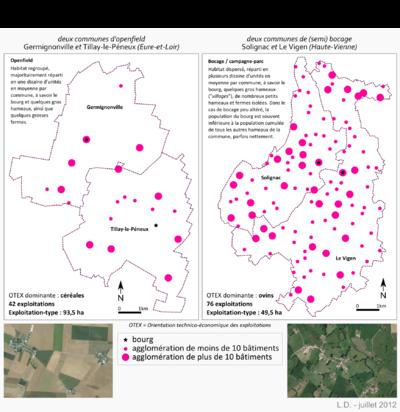 Géographismes - Répartition spatiale de lhabitat entre bocage et openfield