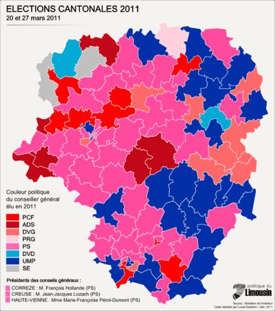 Géographismes - Couleur politique des conseillers généraux du Limousin en 2011.