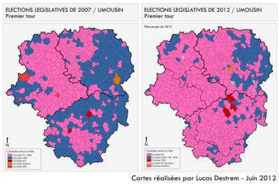 Géographismes - Comparaison des résultats du 1er tour des élections législatives de 2007 et 2012 en Limousin.