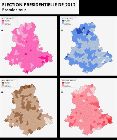 Géographismes - Résultats des 4 principaux candidats au 1er tour de lélection présidentielle de 2012 en Haute-Vienne.