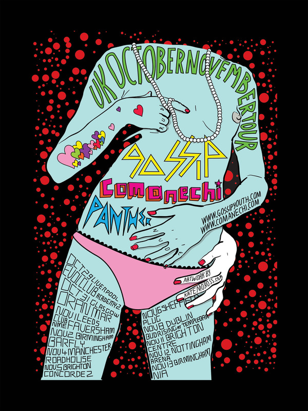 Kate Moross - Gossip & Comanechi Tour Poster