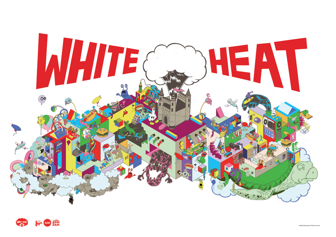 Kate Moross - White Heat Poster 2007 Collab with Ferry Gouw