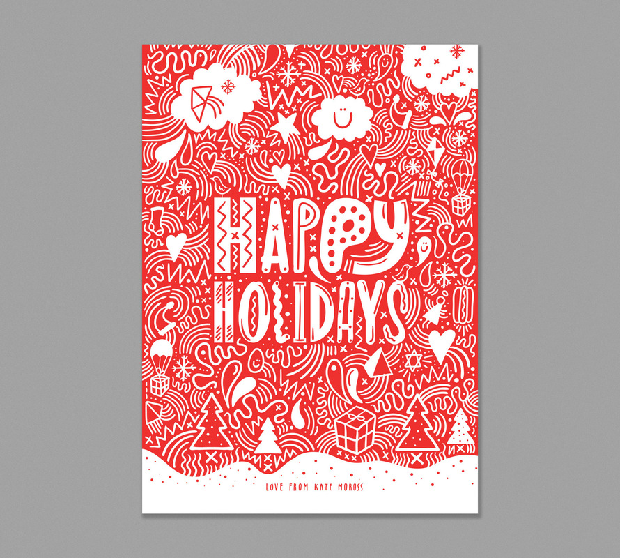 Kate Moross - Happy Holidays cards for Trekstock 2012