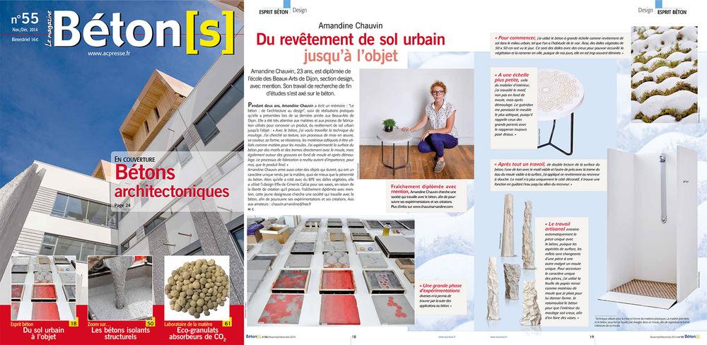 chauvinamandine - Béton[s] le Magazine n° 55, novembre/ décembre 2014. Amandine Chauvin, du revêtement de sol urbain jusqu'à l'objet.