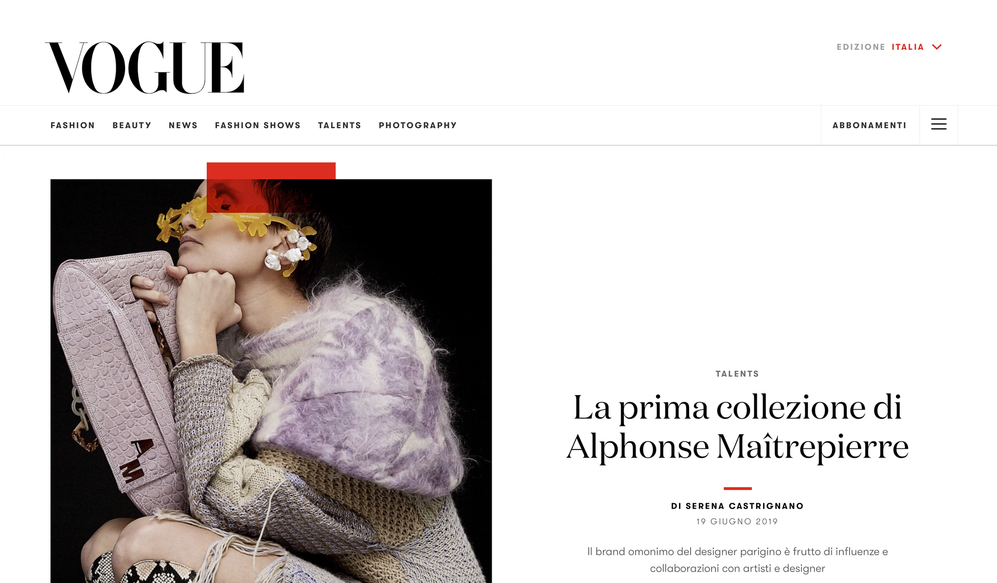 ALPHONSE-MAITREPIERRE - VOGUE ITALIA