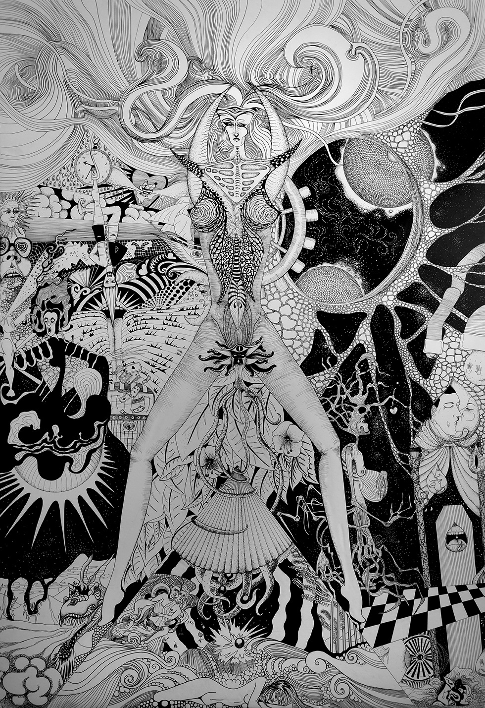 Léa Barrier - Ode à la Vénus, encre sur carton plume, 100x70cm.