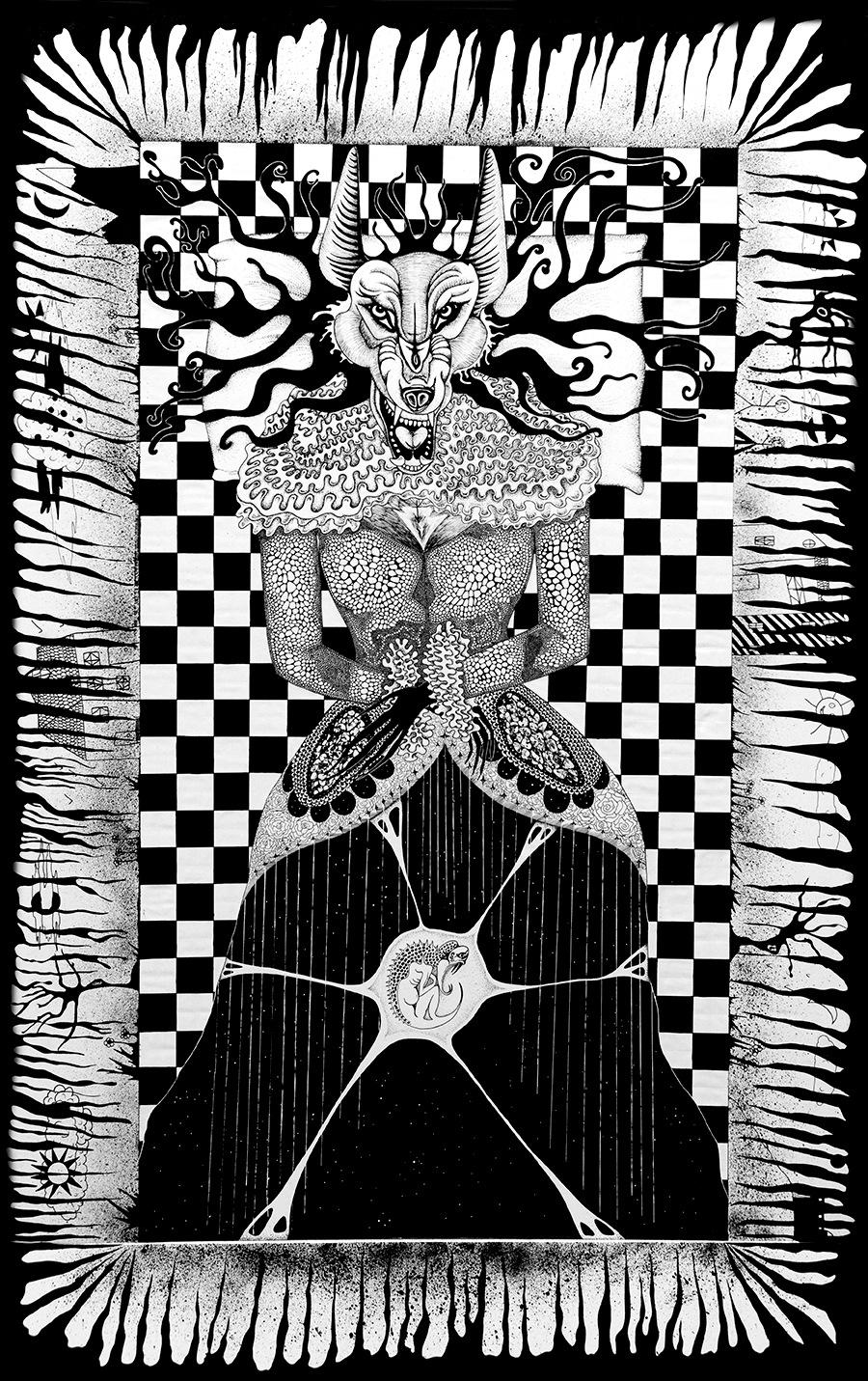 Léa Barrier - Opium, encre sur carton plume, 100x70cm.