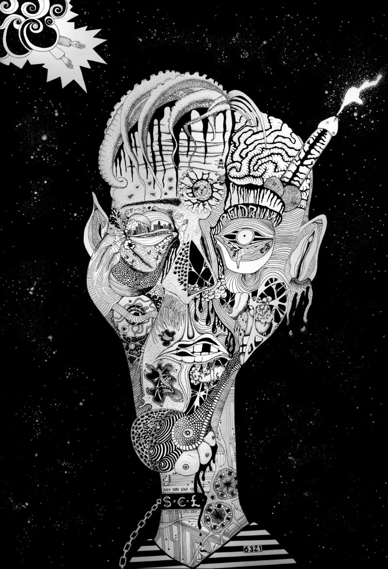 Léa Barrier - Human, encre sur carton plume, 100x70cm.