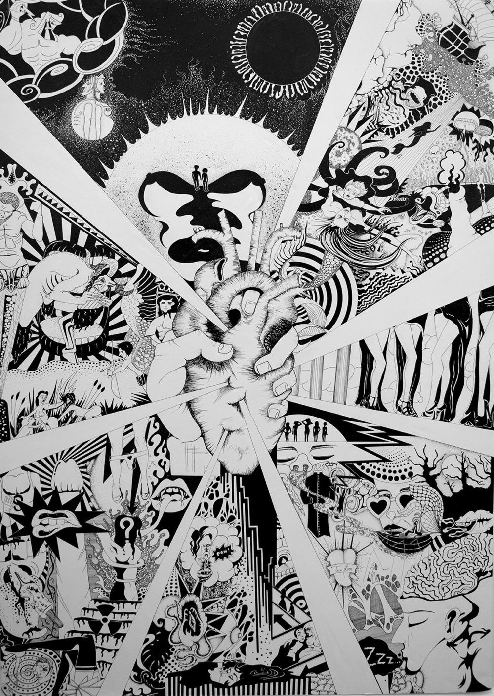 Léa Barrier - Pan Chaos, encre sur carton plume, 100x70cm.