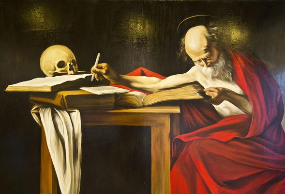natasha mec - Oscar Turri San Girolamo con tavoletta grafica olio su tela 100 x 150