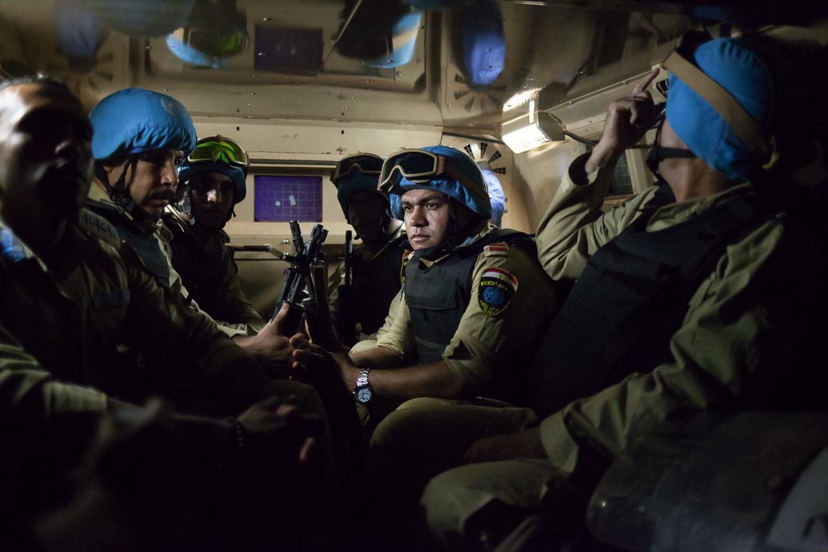 Adrienne Surprenant - Egyptian MINUSCA troops on patrol in Bangui.