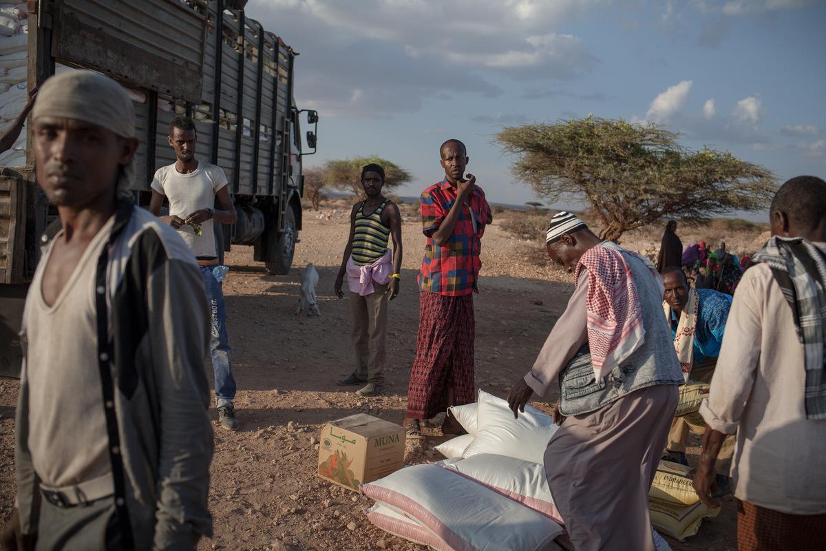Adrienne Surprenant - Distribution de nourriture par le Comité de réponse à la sécheresse, près dAinabo, région de Sool, Somaliland. « Depuis deux semaines, nous navons plus de budget. On pensait que la pluie arriverait et on a fait plusieurs levées de fonds pour maintenir les gens et quelques animaux en vie jusquau début des pluies. Mais la pluie ne vient pas, explique Alhan Jama.