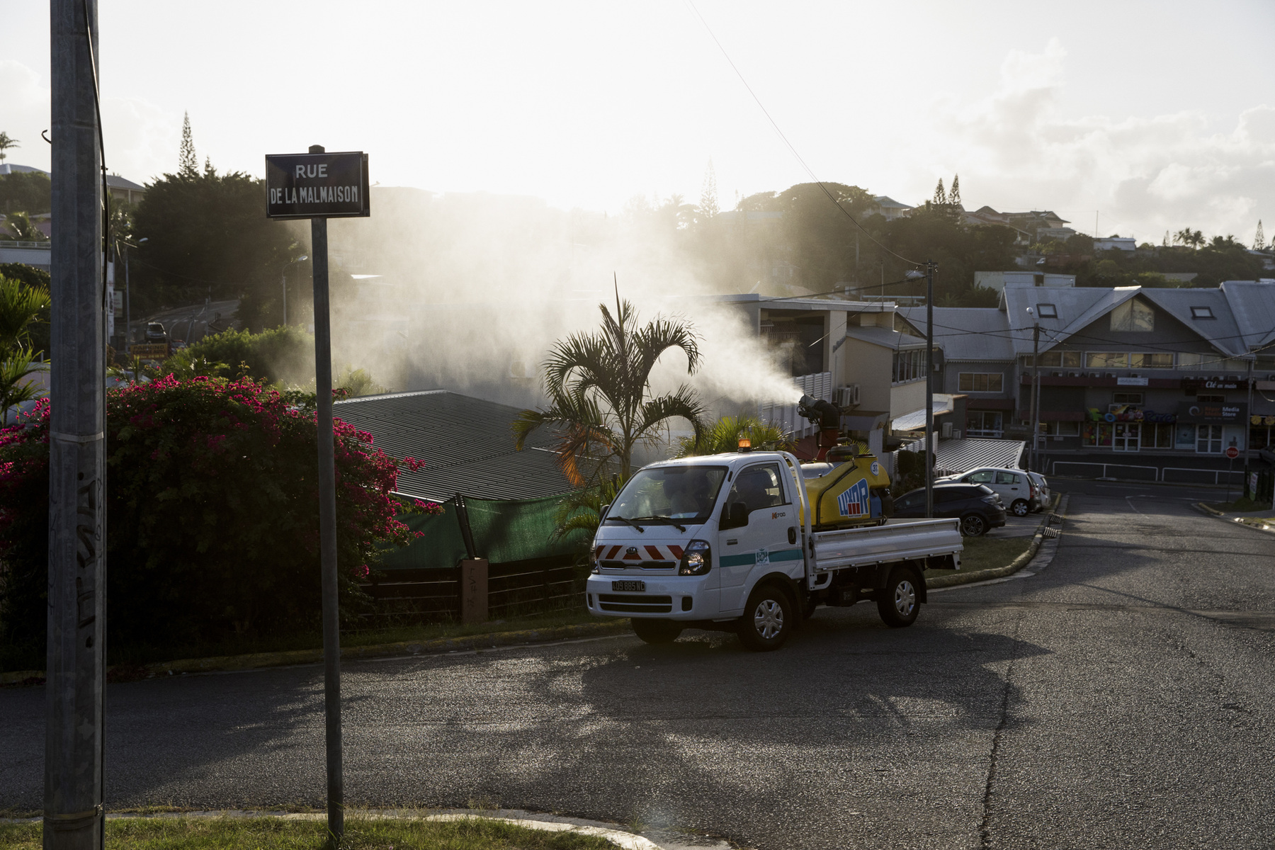 Adrienne Surprenant - 09/01/2019, Nouméa, New Caledonia—The direction of sanitary risks of Nouméa's town is spraying an insecticide, delatméthrine, in the Vallée des Colons neighborhood. In a perimeter of 100 meters around each confirmed dengue case, they do 3 treatments in 10 days. During the 2018 epidemic, Nouméa deals with 15 to 20 new dengue cases per day. It is the dengue serotype 2 that circulates, a type that hasn't been on the island since 1998. The younger population not being immune, the epidemic presents a higher risk. Dengue virus has four serotypes, and a second infection from a different type is increasing the risk of severe dengue and hemorrhagic fever.