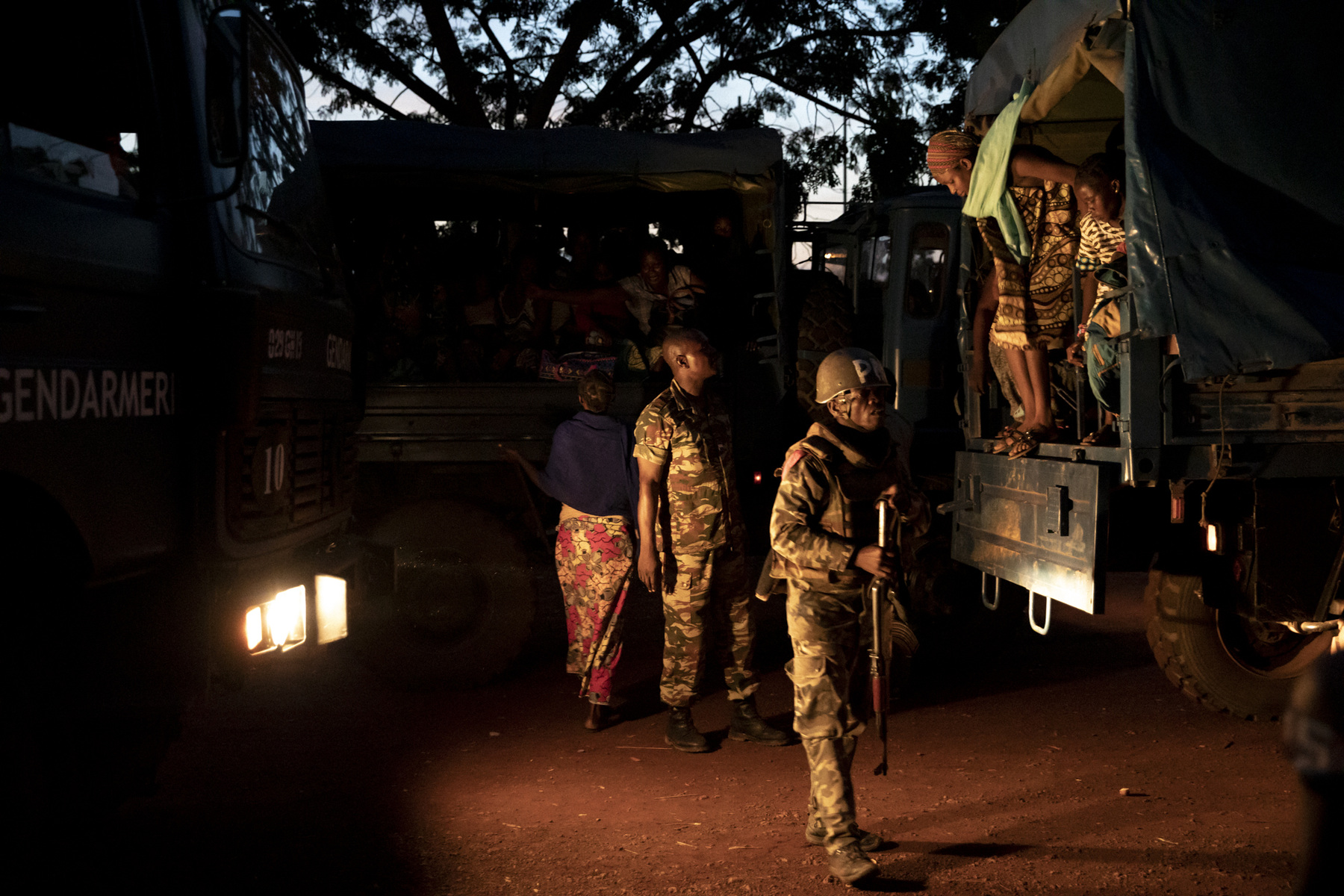Adrienne Surprenant - A truck carrying women and children dislodged by the floods arrived at the Omnisport stadium. 1300 people were relocated there in the wait of a more durable shelter. October 29th, 2019. Bangui, the Central African Republic.