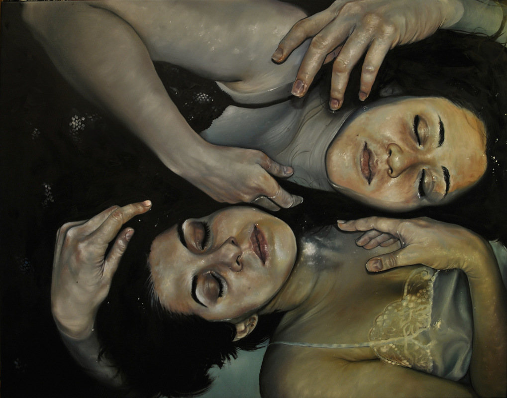 Núria Farré - Painting - Juego de Anacoretas - Oil on canvas 114x146cm [2015]