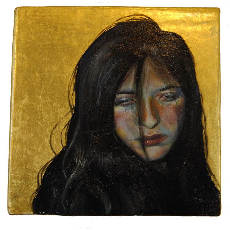 Núria Farré - Painting - Et lux in tenebris lucet et tenebrae eam non conprehenderunt - oil and gold leaf on panel 10.2x10.3cm (2017)