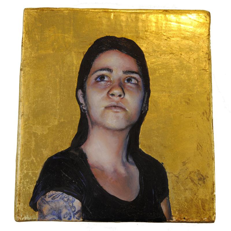 Núria Farré - Painting - Et lux in tenebris lucet et tenebrae eam non conprehenderunt - oil and gold leaf on panel 9.2x10.4cm (2017)