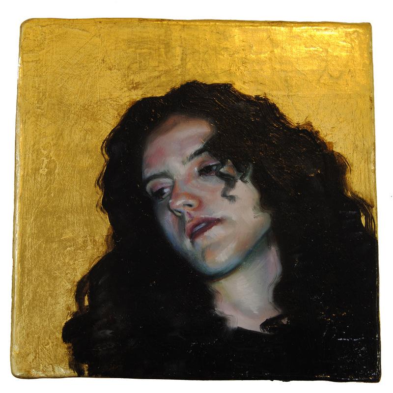 Núria Farré - Painting - Et lux in tenebris lucet et tenebrae eam non conprehenderunt - oil and gold leaf on panel 10.3x10.2cm (2017)