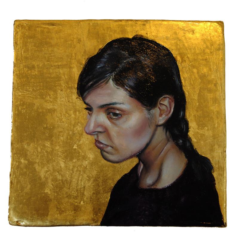 Núria Farré - Painting - Et lux in tenebris lucet et tenebrae eam non conprehenderunt - oil and gold leaf on panel 10x9.8cm (2017)