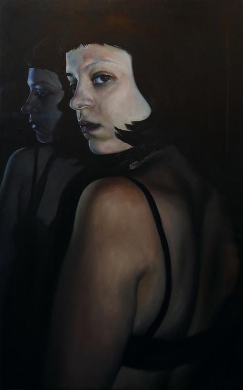 Núria Farré - Painting - Autorretrato ¾ y espejo - oleo sobre tela 130x81cm [2016-17]