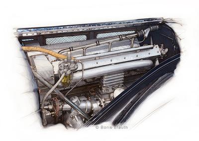Boris Blauth Art - Bugatti 57c Atlantic, engine