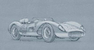 Boris Blauth Art - 1957 four cylinder ferrari testa rossa spider