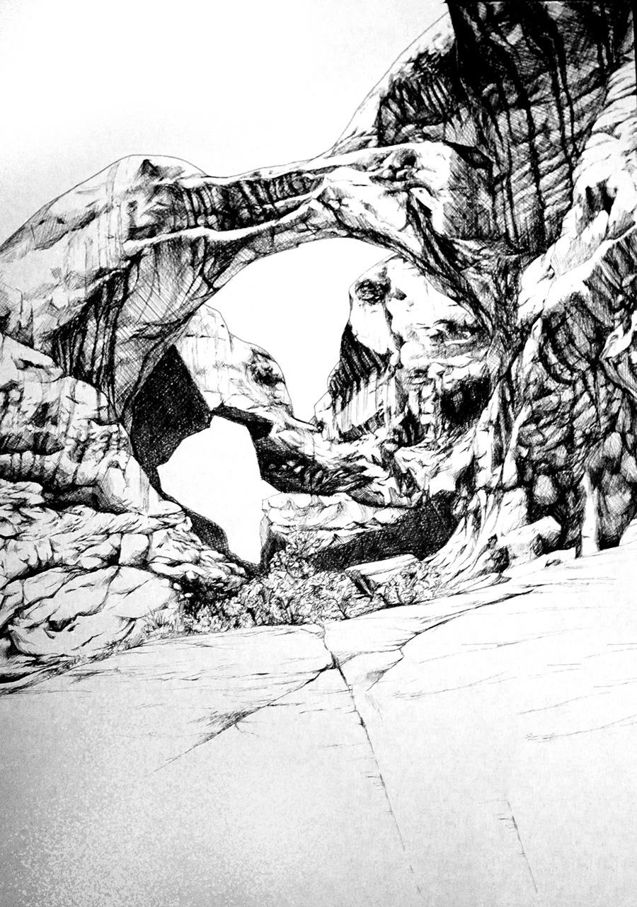 Romina Scagliarini - Rock study  Fineliner | A3