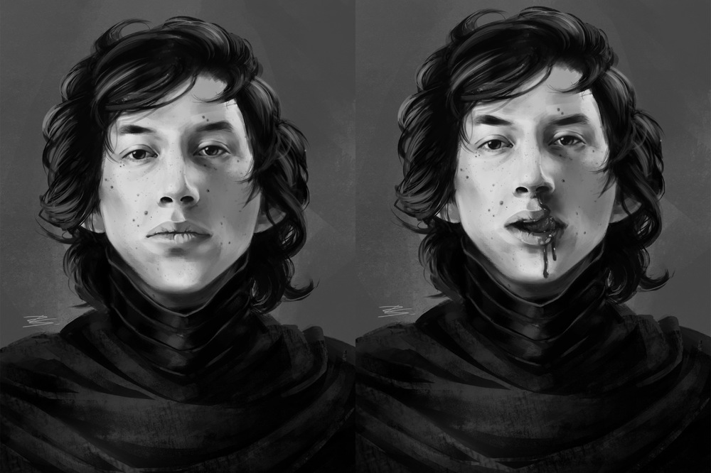 Romina Scagliarini - Painting and Face Study (Adam Driver)   drawn in PS