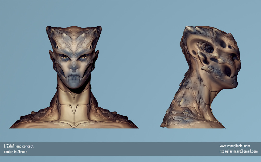 Romina Scagliarini - LiZahif 3D concept   sketch in Zbrush   Project: Sal'hratba and the Lizahif
