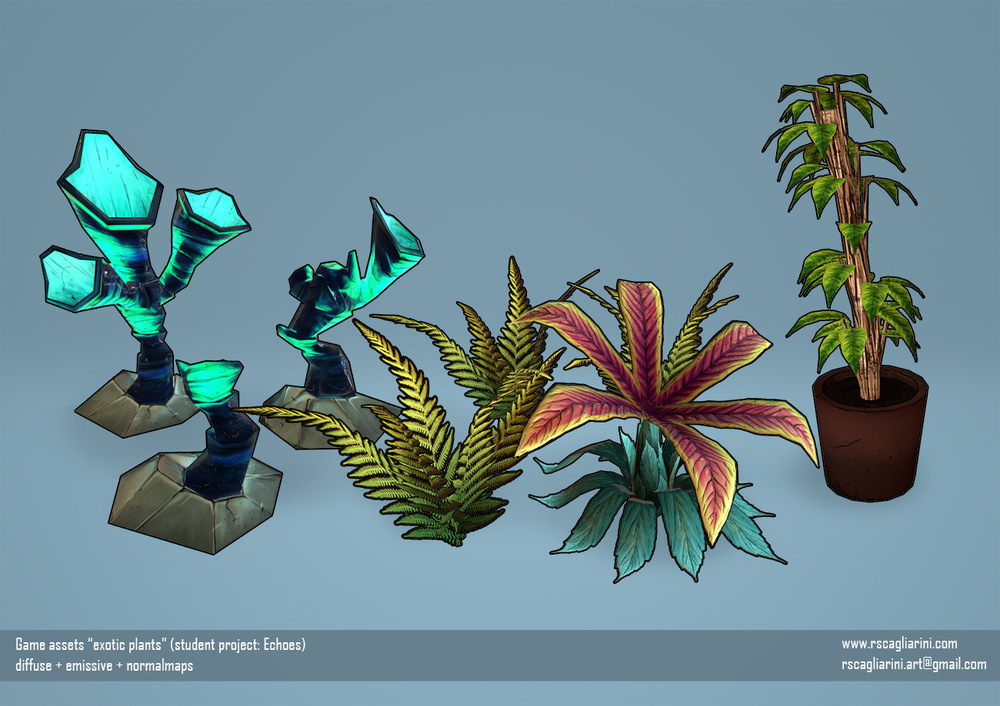 Romina Scagliarini - exotic plants (student project Echoes)   modeled in Maya   handpainted textures made in PS