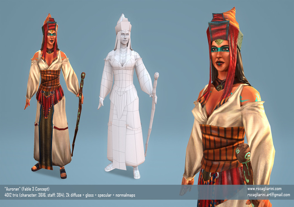 Romina Scagliarini - Auroran (Fable 3 Concept)   modeled and rigged in Maya   textures made in PS and with Quixel Suite 2.0