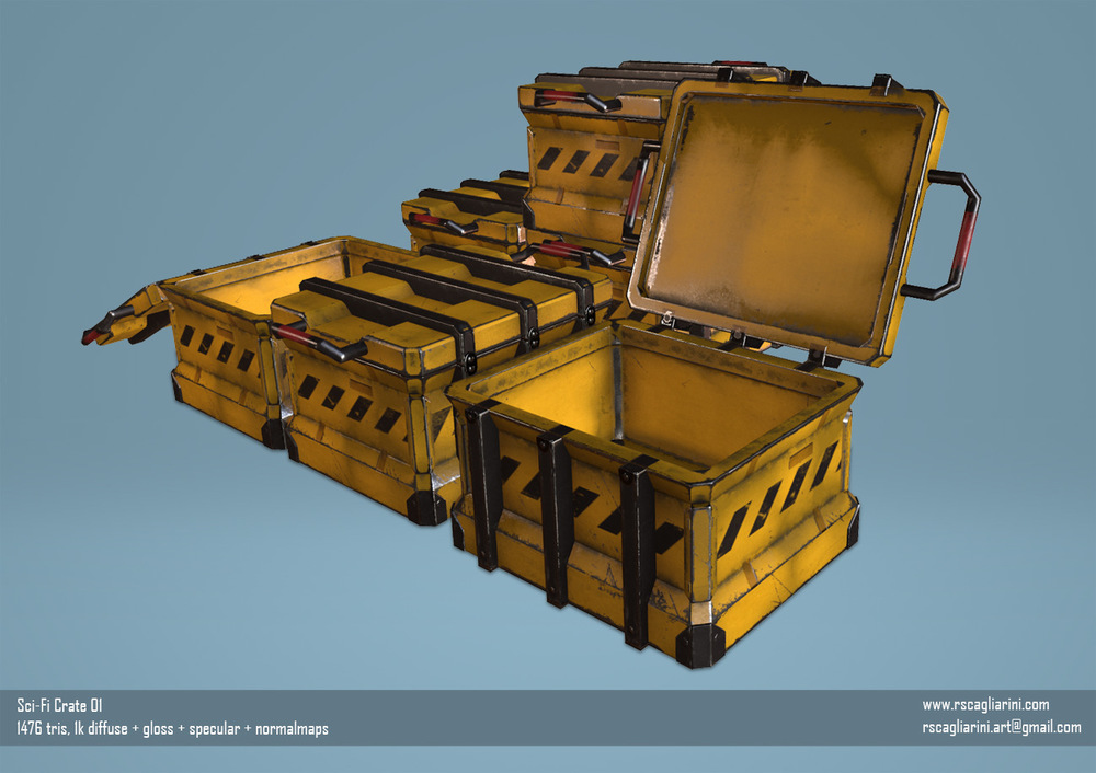 Romina Scagliarini - Sci-Fi Crate ( Reference )   modeled in Maya   textures made in PS and with Quixel Suite 2.0