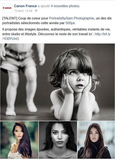PORTRAITSBYSAM - Coup de coeur par Canon France sur leur page Facebook CLIQUER ICI