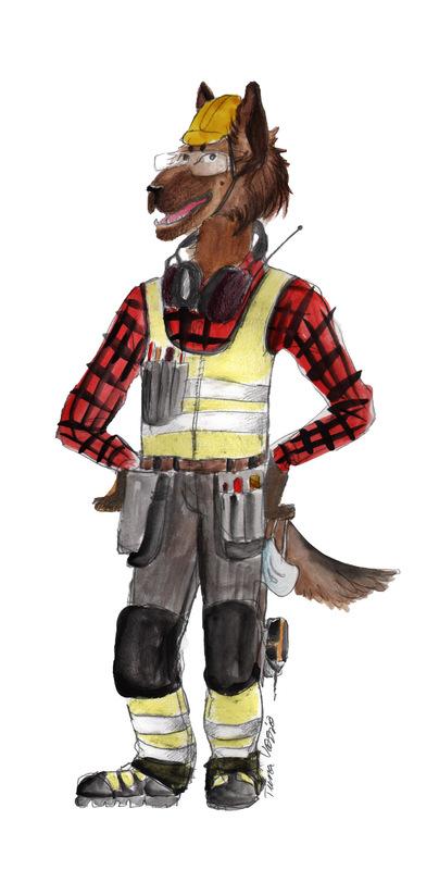 tiinavarrio - Työturvallisuuskurssia varten tehty, esittelemään rakennnustyömaalla pidettäviä suojavarusteita.