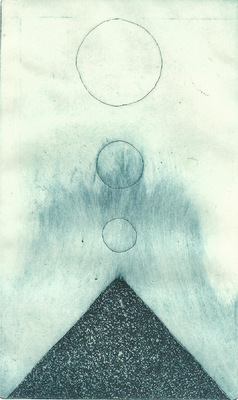 Seppo Alanissi - untitled etching & aquatint, monoprint 20 * 12 cm
