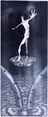Seppo Alanissi - Marttyyri / The Martyr etching & aquatint 35 * 14,5 cm