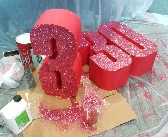 WINDOW DISPLAYS I EVENT STYLING I PROPS I CUSTOM ARTWORK I EDINBURGH - Glittered Polystyrene Numbers