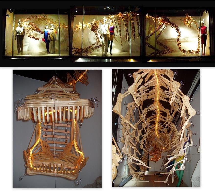 WINDOW DISPLAYS I EVENT STYLING I PROPS I CUSTOM ARTWORK I EDINBURGH - Installing of Wooden Hanger Dinosaur