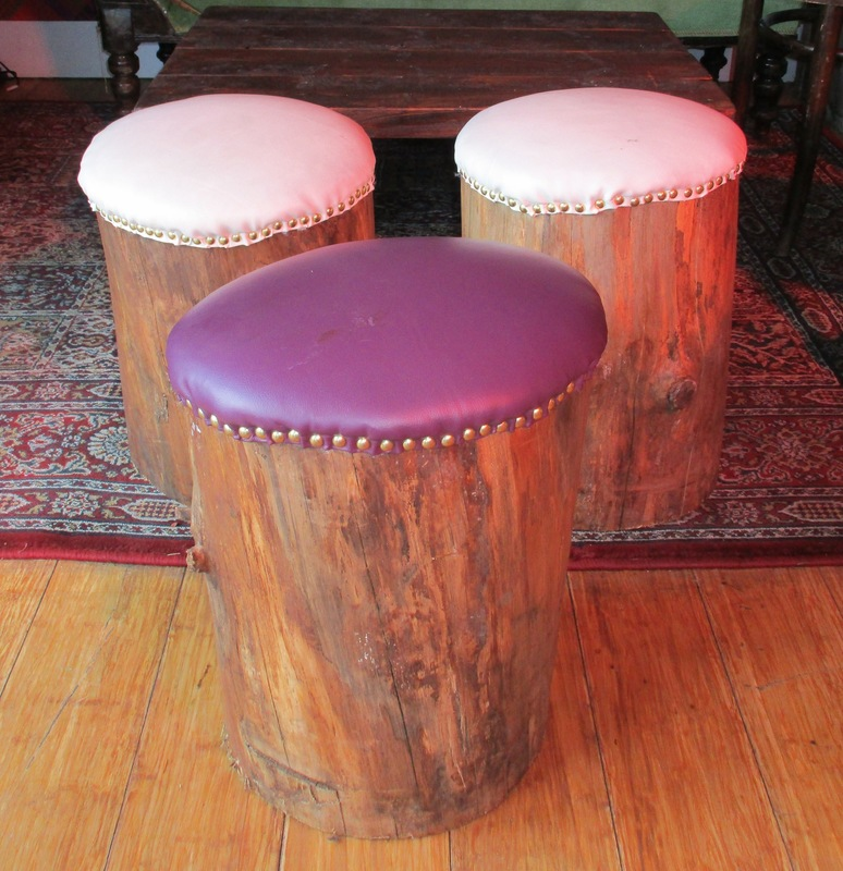 WINDOW DISPLAYS I EVENT STYLING I PROPS I CUSTOM ARTWORK I EDINBURGH - Tree stump stools upholstered in leatherette