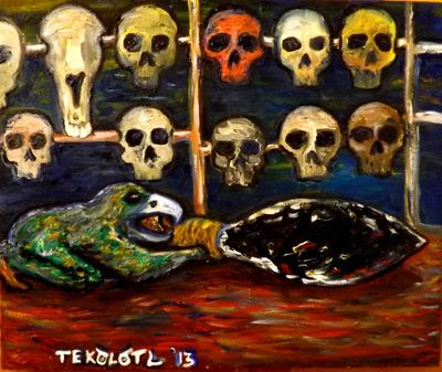 Tekolotl - ArtWork - El cuchillo y el tzompantli