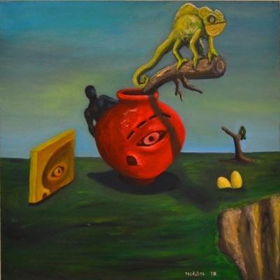 Tekolotl - ArtWork - El camaleón en la sombra de un jarrón