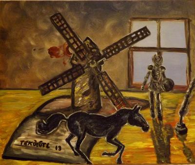 Tekolotl - ArtWork - Rocinante galopando, mientras don Quijote observa desde la ventana de Cervantes después de derrotar a un molino.