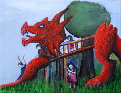 Tekolotl - ArtWork - Los niños jugando sobre el dragón
