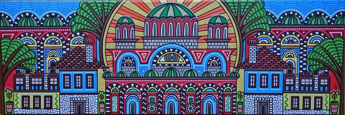 LyubaS Art - Welcome to Bulgaria 90 x 30 cm