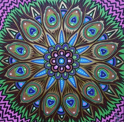 LyubaS Art - Peafowl 24 x 24 cm